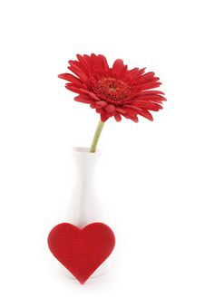 Free Flower In Vase With Heart Royalty Free Stock Photography - 17949067