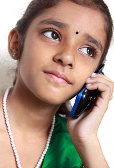 Indian Teenage Girl  On A Cell Phone Stock Photos