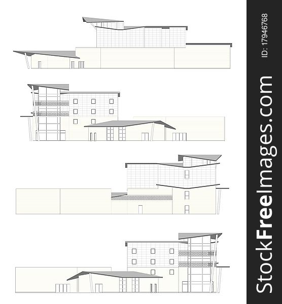Facades of an hotel made in CAD