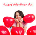 Free Cute Young Girl With A Red Hearts Stock Image - 17954991