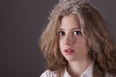 Free Portrait Teenage Girl With Snow In Hair Royalty Free Stock Images - 17950619