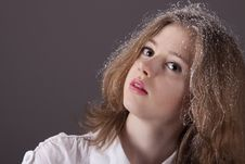 Free Portrait Teenage Girl With Snow In Hair Stock Photography - 17950632