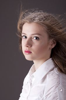 Free Portrait Teenage Girl With Snow In Hair Royalty Free Stock Photo - 17950645