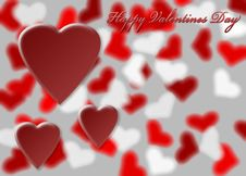 Free Hearts On Blurry Heart Background Royalty Free Stock Photography - 17950807