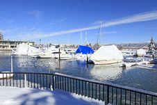 Boats And Winter Marina Stock Photo