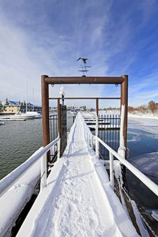 Gates And Winter Marina Stock Images