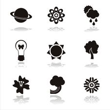 Free Black Nature Icons Royalty Free Stock Photo - 17953175