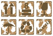 Fragile Symbol On Cardboard Stock Image