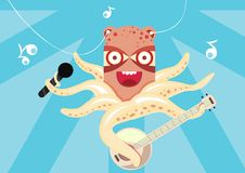 Free Happy Octopus Playing Banjo In The Sea Stock Image - 17953591