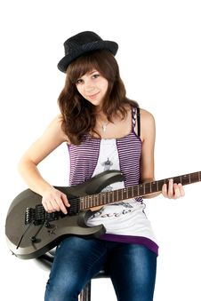 Free Beautiful Girl Playing The Guitar Royalty Free Stock Photos - 17953898