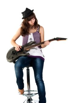 Free Beautiful Girl Playing The Guitar Royalty Free Stock Image - 17953916