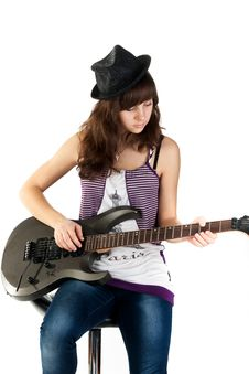 Free Beautiful Girl Playing The Guitar Royalty Free Stock Image - 17953936