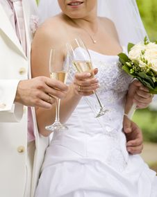 Free Bride And Fiance Clink Glasses Royalty Free Stock Photography - 17953977