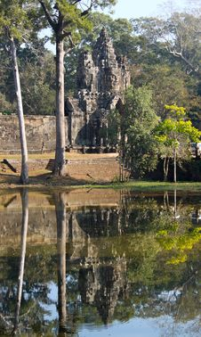 Face-tower Of The South Gate, Angkor Stock Photo