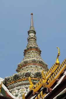 Glazed Tile Chedi In Thai Traditional Style