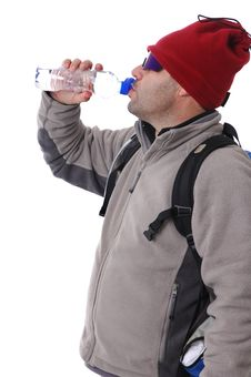 Free Hiker Drinking Water Royalty Free Stock Photography - 17956887