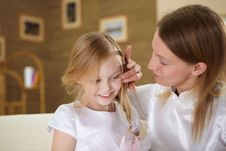 Mother With Teenager Daughter At Home Royalty Free Stock Images