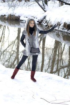 Smiling Girl Walking Royalty Free Stock Images