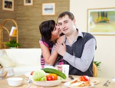 Free Couple At Home Having Meal Stock Photo - 17957360