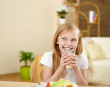 Free Little Girl Having Meal At Home Stock Photos - 17957373