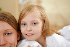 Mother With Teenager Daughter At Home Stock Image