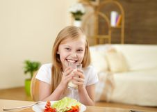 Free Little Girl Having Meal At Home Stock Image - 17957531