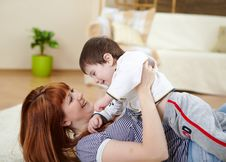 Free Young Mother Playing With Her Little Son Royalty Free Stock Photography - 17957557