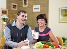 Free Couple At Home Having Meal Stock Photos - 17957713