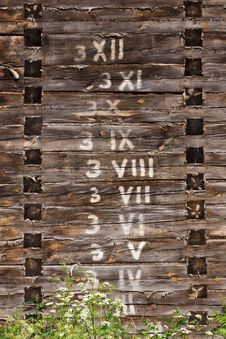 Wooden Wall With Numbers In Order Stock Photo