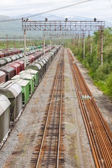 Free Range Of Multicoloured Rail Road Waggons Royalty Free Stock Photo - 17959795