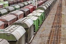 Free Range Of Multicoloured Rail Road Waggons Royalty Free Stock Photo - 17959805