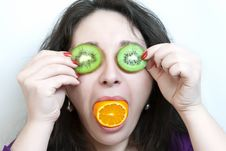 Free Woman Holds Two Slices Of Kiwi Before Her Eyes Stock Photography - 17959822