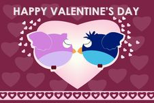 Free Bird Kiss Valentine Card Stock Photos - 17959873