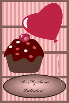Free Cupcake Balloon Valentine Card Royalty Free Stock Photos - 17959878