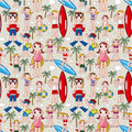 Free Seamless Summer People Pattern Stock Image - 17965021