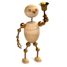 Free Wood Man With School Bell Royalty Free Stock Photo - 17961735