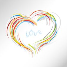Valentine Heart From Colorful Lines. Royalty Free Stock Images