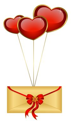 Free Envelope With Red Hearts Stock Photography - 17963462