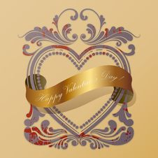 Free Heart Old Frame With A Golden Ribbon Royalty Free Stock Photos - 17965358
