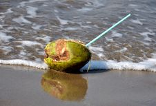 Free Green Coconut With Straw At Seashore Royalty Free Stock Image - 17965556