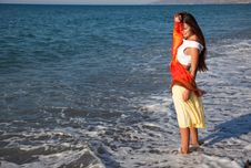Free A Woman With The Pareo Is On A Coast Royalty Free Stock Image - 17965606