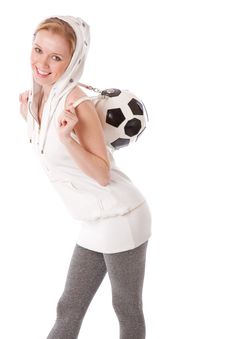 Free A Smiling Girl With A Football Ball On Her Back Stock Images - 17965764