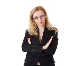 A Beautiful Businesswoman Is Folding Her Hands Stock Images
