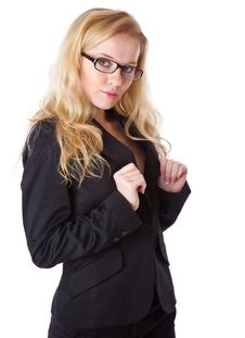 A Beautiful Businesswoman Is Keeping The Collar Stock Image