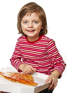 Free Little Girl With Pizza Royalty Free Stock Image - 17966056