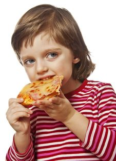 Free Happy Little Girl Eating Pizza Stock Photography - 17966142