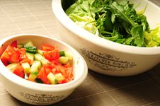 Free Two Kitchen Bowls Filled With Fresh Salad Stock Photography - 17966462