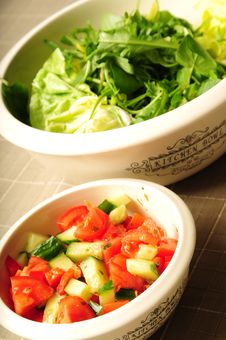 Two Kitchen Bowls Filled With Fresh Salad Stock Image