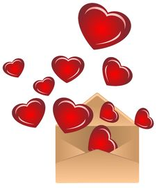 Free Envelope With Hearts Royalty Free Stock Image - 17966516