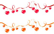 Free Two Ribbons With Hearts Royalty Free Stock Photos - 17966778